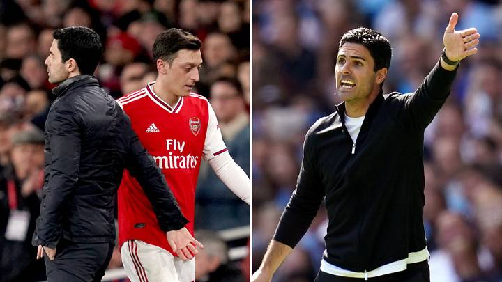 Mesut Ozil Ruthlessly Mocks Mikel Arteta As He Reacts To Arsenal's Defeat To Man City