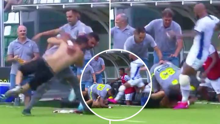 Bruno Silva Horrifyingly Kicks Pitch Invader's Head Only Moments After He Was Hit With A Judo Takedown