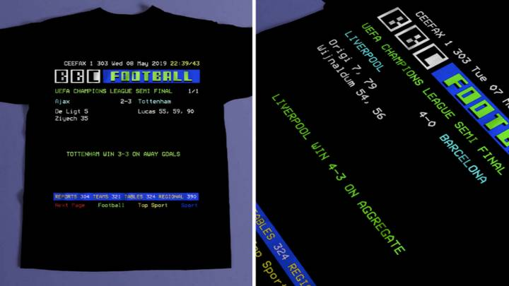 You Can Buy A Personalised Ceefax T-Shirt With Scoreline Of Your Choice