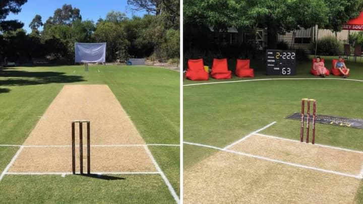 Man Transforms His Back Garden Into A Cricket Pitch And It's Actually Insane