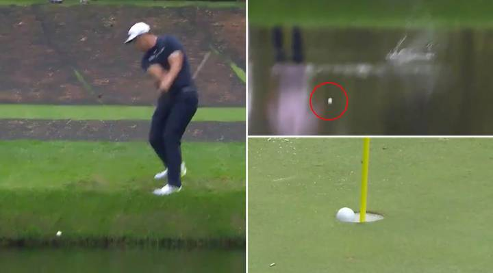 Jon Rahm Hits An Unbelievable Hole-In-One By Skimming The Ball Across The Pond During Masters Practice