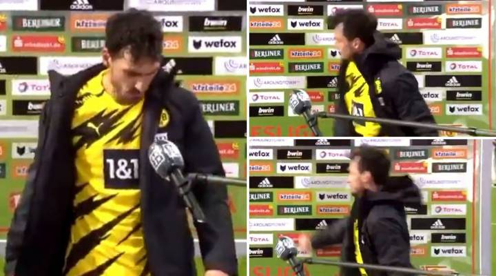 Mats Hummels Angrily Punches Interview Board On TV After Borussia Dortmund Defeat