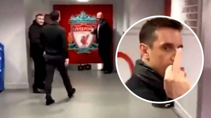 Gary Neville Loses His Head And Hilariously Walks Into Liverpool Dressing Room