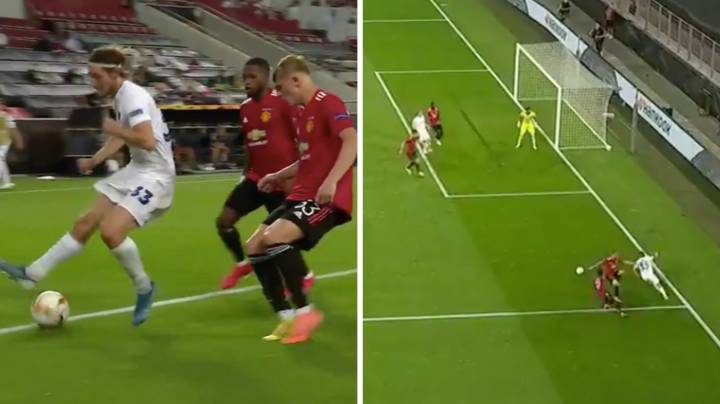 Rasmus Falk Sends Two Manchester United Defenders Back To Manchester With Brilliant Skill