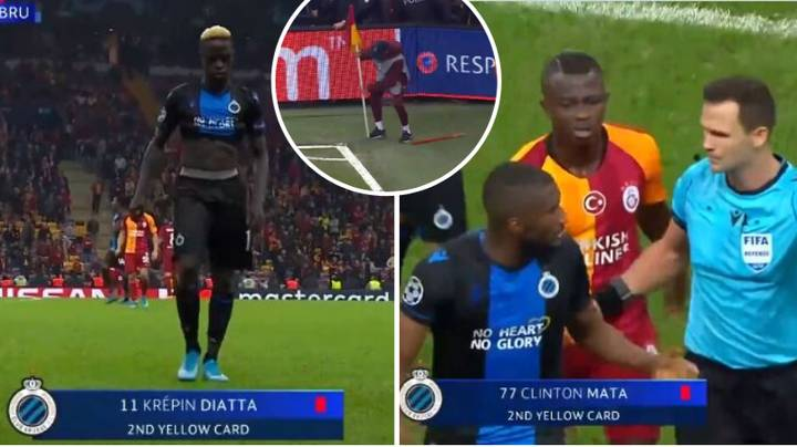 Two Club Brugge Players Sent Off For Celebrating Their Goal In The Champions League