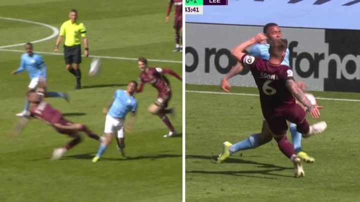 Leeds United Captain Liam Cooper Sent Off For Poor Challenge On Gabriel Jesus
