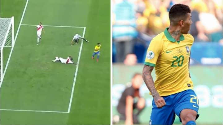 Roberto Firmino Produces Cheeky Trademark 'No Look' Finish In Copa America