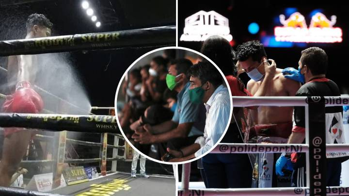 Fighters Sprayed With Disinfectant As Boxing Card Goes Ahead In Front Of 800 Fans
