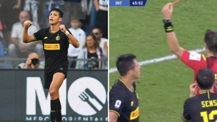 Alexis Sanchez Proves He's Still A Footballer With Goal And Red Card On First Inter Start