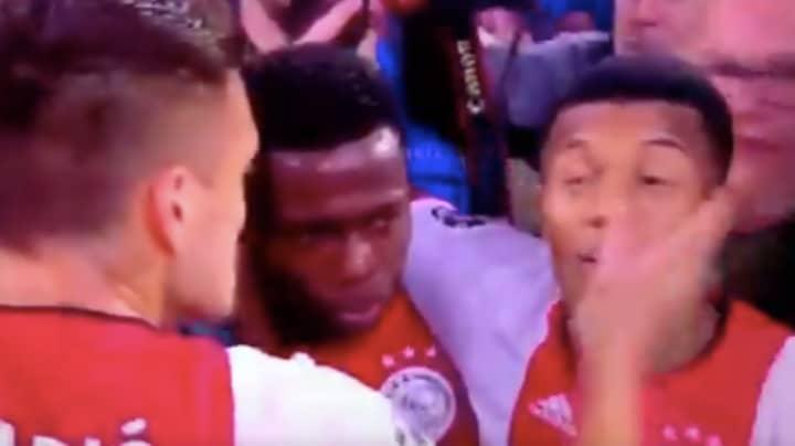 Dusan Tadic Slapped Teammate David Neres In Ajax's Goal Celebrations Vs Lille