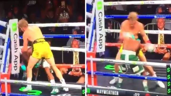 Logan Paul Unloads 25 Punch Flurry On Floyd Mayweather In The First Round