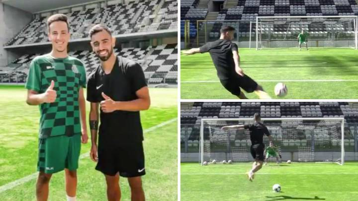Bruno Fernandes Surprises 17-Year-Old Goalkeeper With Shooting Session And His Technique Is Next Level
