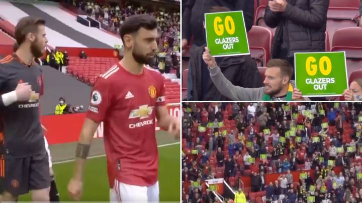 Thousands Of Manchester United Fans Hold Up 'Glazers Out' Signs On Old Trafford Return