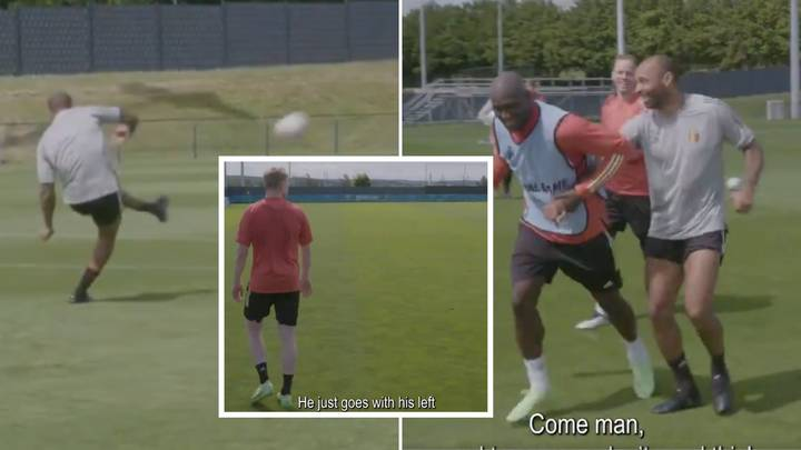Thierry Henry Rolls Back The Years With Trademark Free-Kick In Belgium Training, Leaves Lukaku & De Bruyne Stunned
