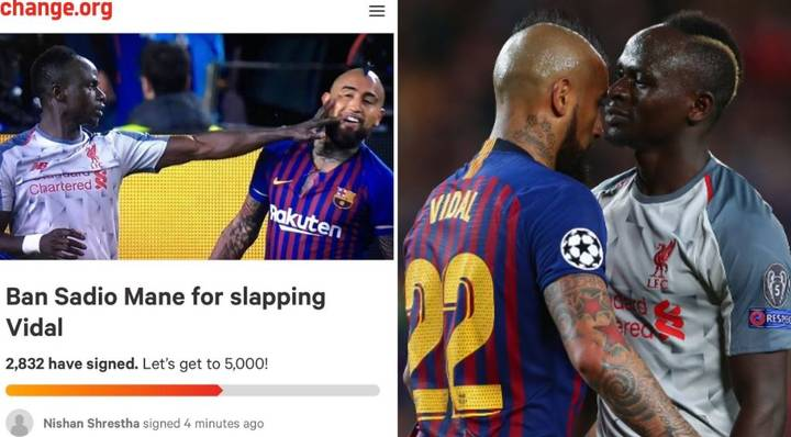 A Barcelona Fan Has Set Up A Petition For Sadio Mane To Be Banned