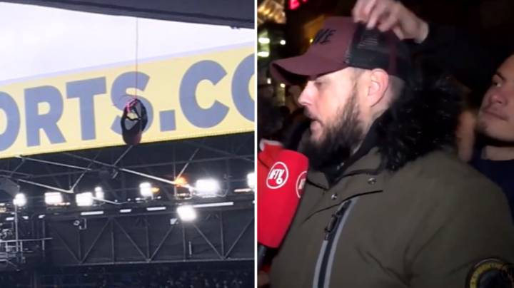 Crystal Palace Fan Steals DT's Hat Then Hangs It From The Stand