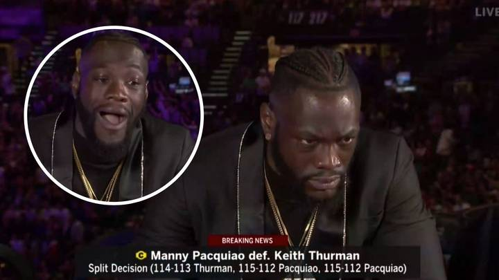 Deontay Wilder's Reaction To Manny Pacquiao's Knockdown Of Keith Thurman Was Genuinely Priceless