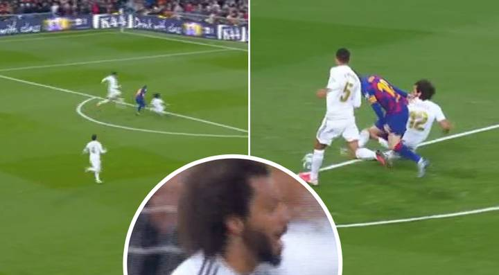 Marcelo Makes Last Ditch Tackle On Messi, Celebrates Like He's Scored A Goal