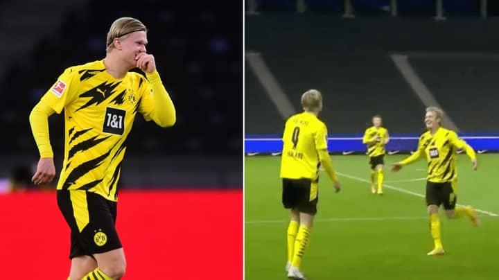 Erling Haaland Scores Sensational 15-Minute Hat-Trick Vs Hertha Berlin