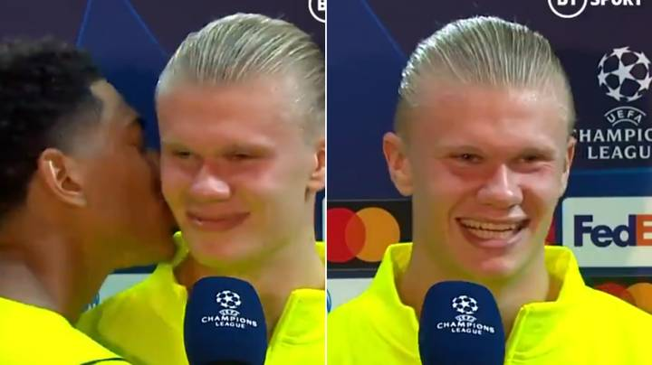 Jude Bellingham Hilariously Kisses Erling Haaland After Gatecrashing His Post-Match Interview