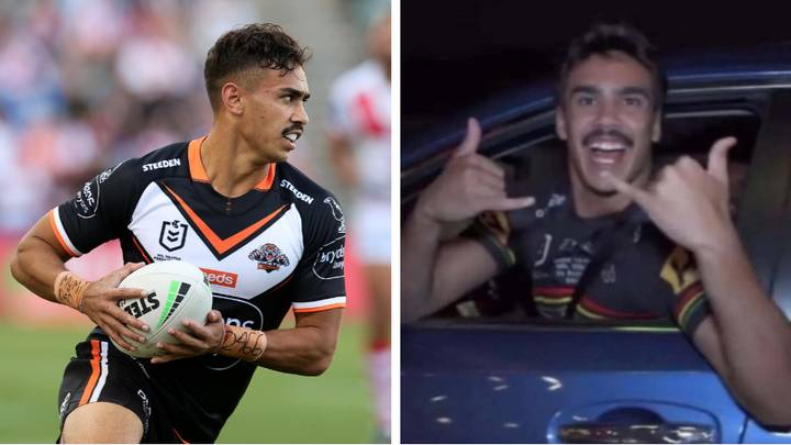 Wests Tigers Star Daine Laurie Photographed Wearing A Penrith Panthers Jersey