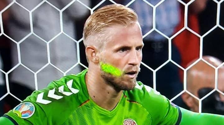 England Fan Shines Laser Pen On Kasper Schmeichel During Penalty