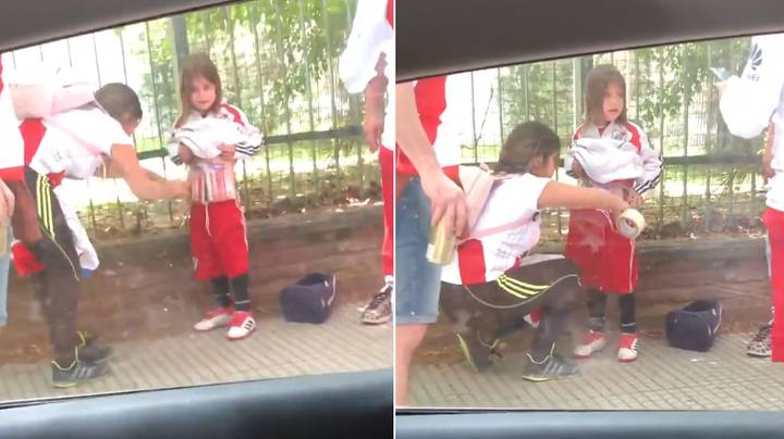 River Plate Fan Smuggles In Flares Into Stadium By Wrapping Them Around A Young Child