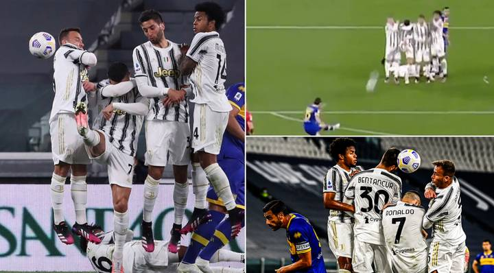 Cristiano Ronaldo Bizarrely Ducks And Covers Face In Wall To Let In Free-Kick Vs Parma