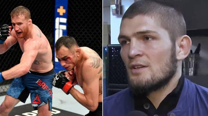 Khabib Nurmagomedov Reacts To Justin Gaethje Defeating Tony Ferguson At UFC 249