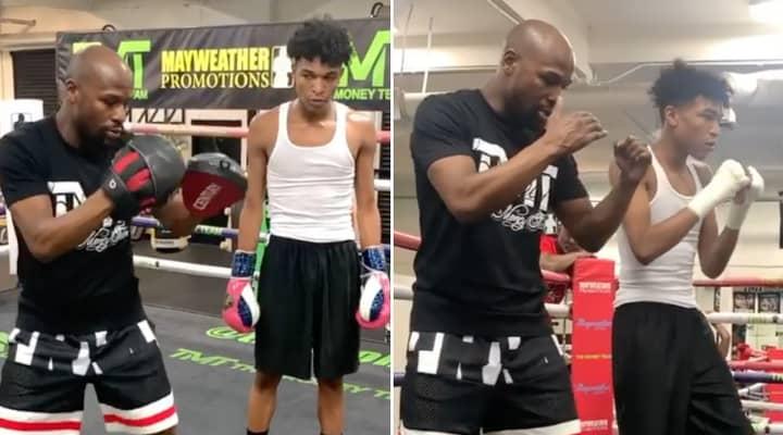 Floyd Mayweather Gives Son Koraun A Boxing Masterclass