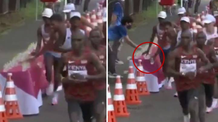 French Marathon Runner Appears To Knock Water Bottles To The Floor On Purpose