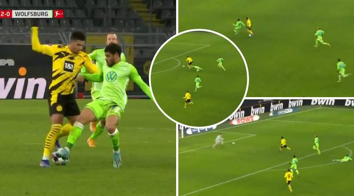 Wow! Jadon Sancho Floors Wolfsburg Defender With Quick Feet In Class Last Minute Goal