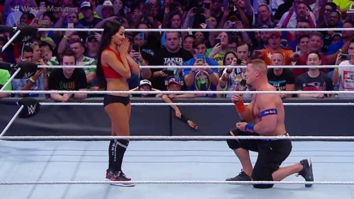 WATCH: John Cena Proposes To Nikki Bella At Wrestlemania