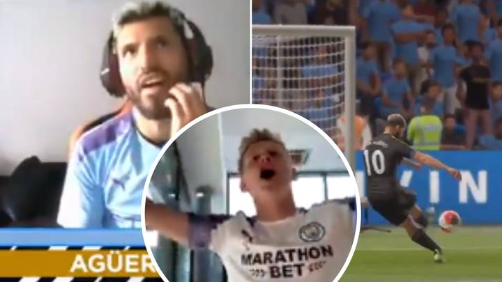 Sergio Aguero's Priceless Reaction To Conceding Against His Virtual Self On FIFA 2020
