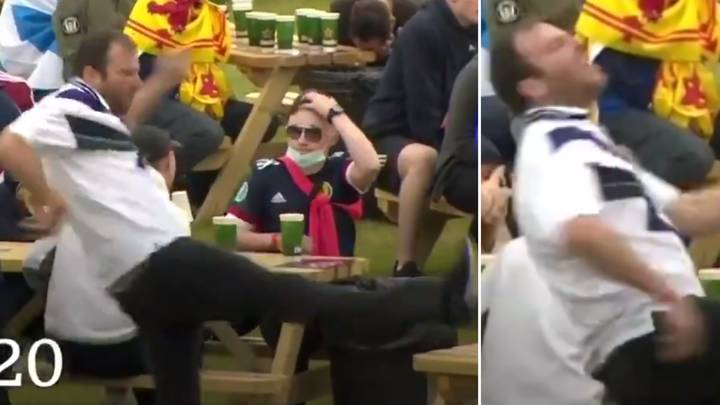 Scotland Fan's Shocking Attempt To Destroy A Table In Anger Could Be Their Euro 2020 Highlight