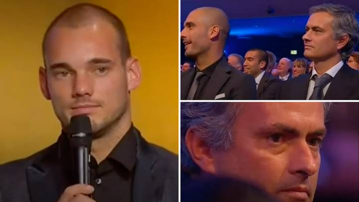 The Moment Jose Mourinho 'Holds Back Tears' During Wesley Sneijder's Emotional Speech