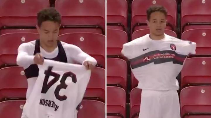 FC Midtjylland Player Mikael Anderson Has The Strangest Technique For Putting A Football Shirt On