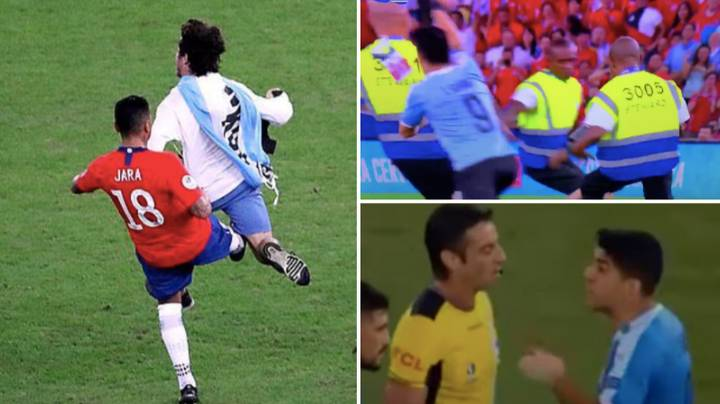 Luis Suarez Trying To Get Chile Player Sent Off For Tripping Up Pitch Invader Will Never Get Old
