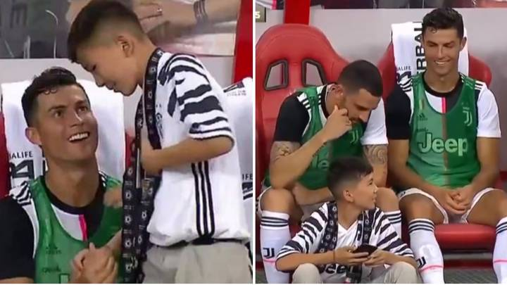 Cristiano Ronaldo Shares Special Moment With Young Juventus Supporter On The Bench