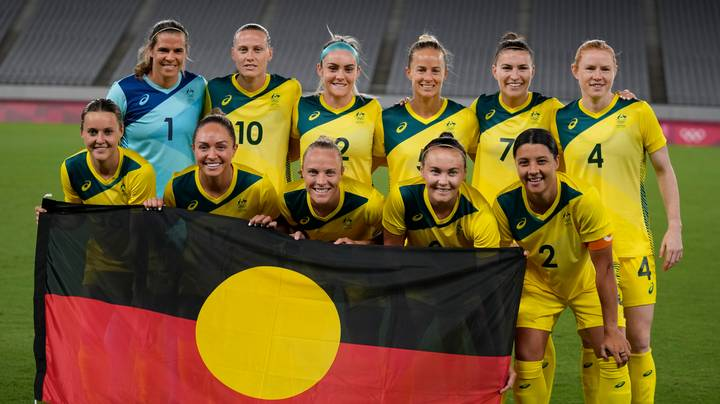 Matildas Hold Aboriginal Flag For Team Photo Before First Olympic Games Match