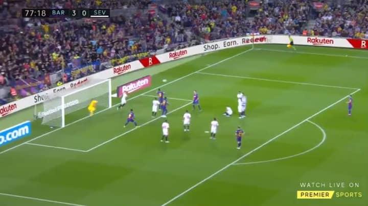 Barcelona Captain Lionel Messi Scored A Sensational 25-Yard Free-Kick Against Sevilla