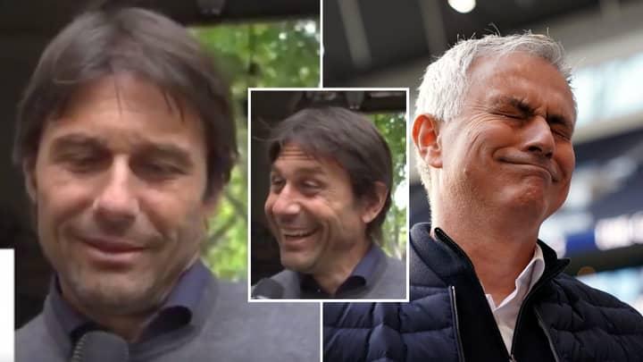 Antonio Conte's Live Reaction To Rival Jose Mourinho's Serie A Return Is Priceless