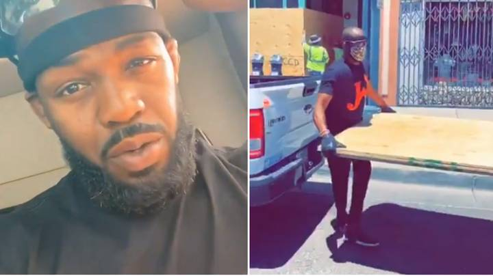 Jon Jones Cleans Up The Streets And Helps Rebuild Small Businesses After Looting In Albuquerque