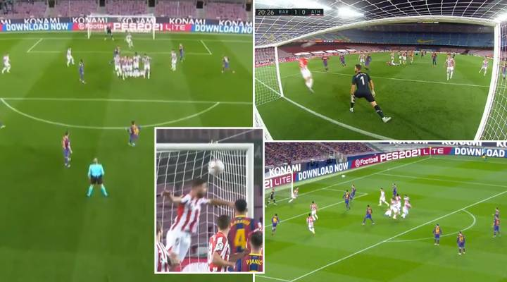 Lionel Messi Scores Incredible Inch-Perfect Free-Kick Despite Athletic Bilbao Player Being On The Line