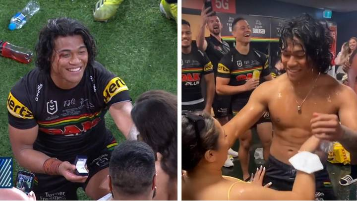 Brian To'o Gives His New Fiancee A Steamy Lap Dance During Grand Final Celebrations