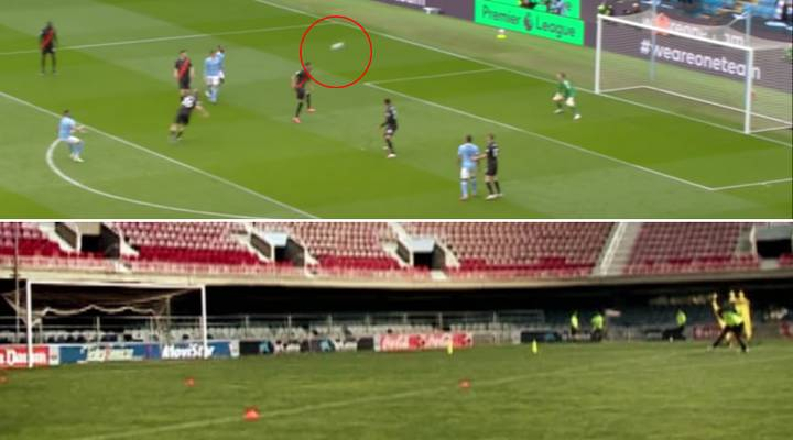 Riyad Mahrez Pulls Off Ronaldinho's Off-The-Crossbar Nike Advert Stunt During Everton Game