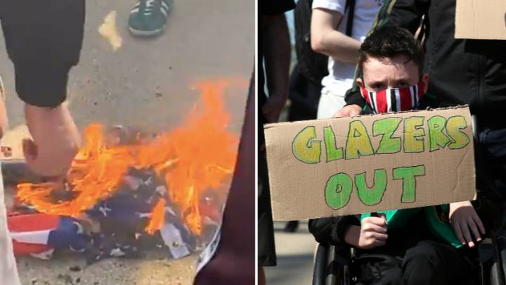 Manchester United Fans Burn American Flag At Protest Against Glazer Family