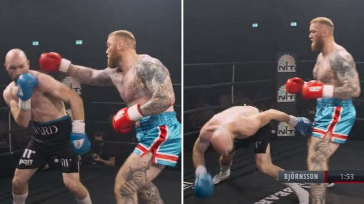 The Moment Hafthor Bjornsson Drops Opponent With Powerful Right Hand In Boxing Debut