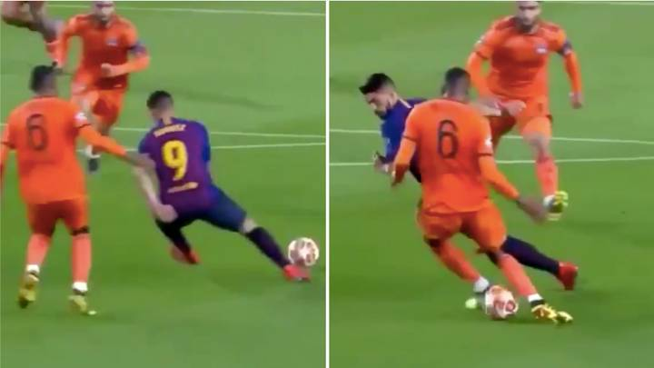 Luis Suarez Destroys Lyon's Marcelo Guedes Without Even Touching The Ball