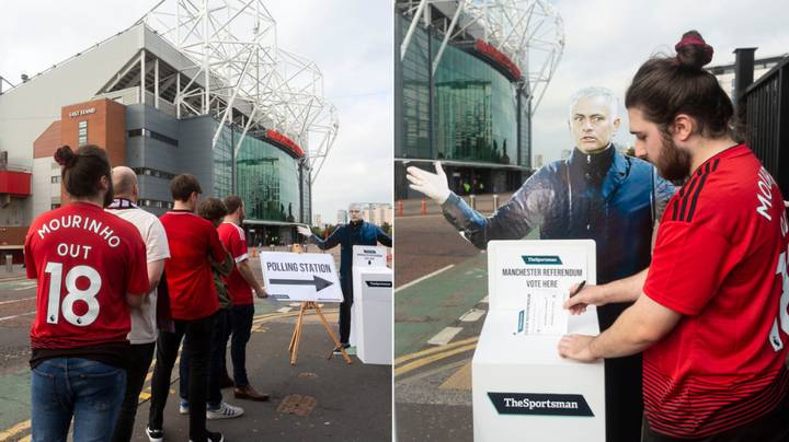 There's A Polling Station Outside Old Trafford Where Fans Can Vote On Future Of Jose Mourinho
